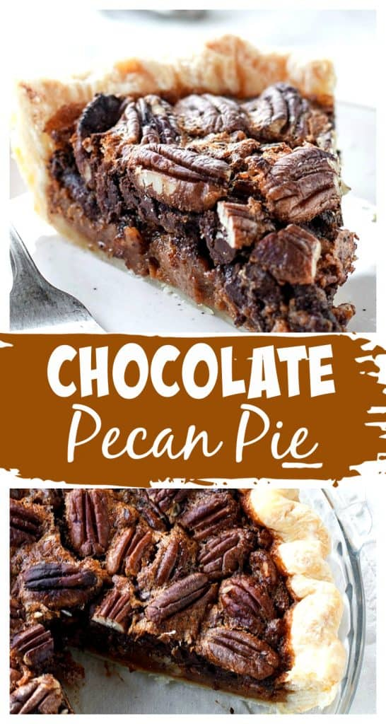 Pecan pie in dish and a slice on a plate, rown and white text overlay