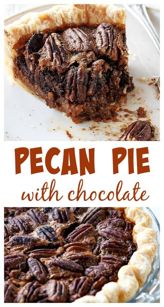 Two pecan pie image collage, a slice and whole pie, brown text overlay