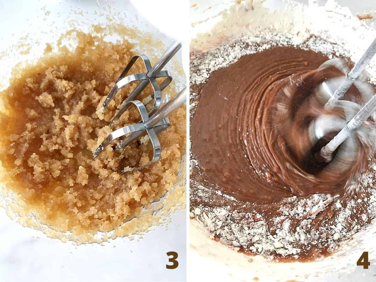 Beating oil and sugar, adding chocolate and flour, glass bowl; a collage