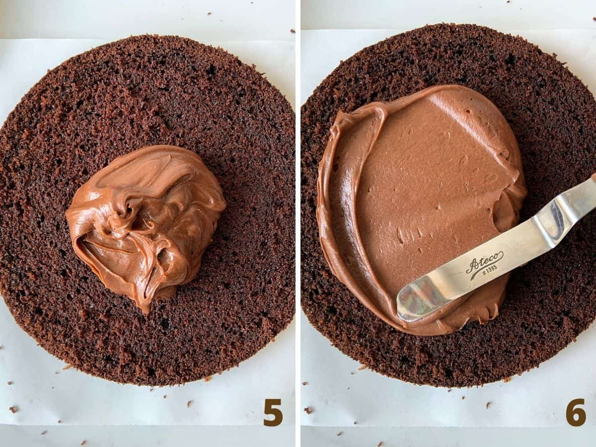 Filling chocolate cake with chocolate mixture, a spatula, white surface