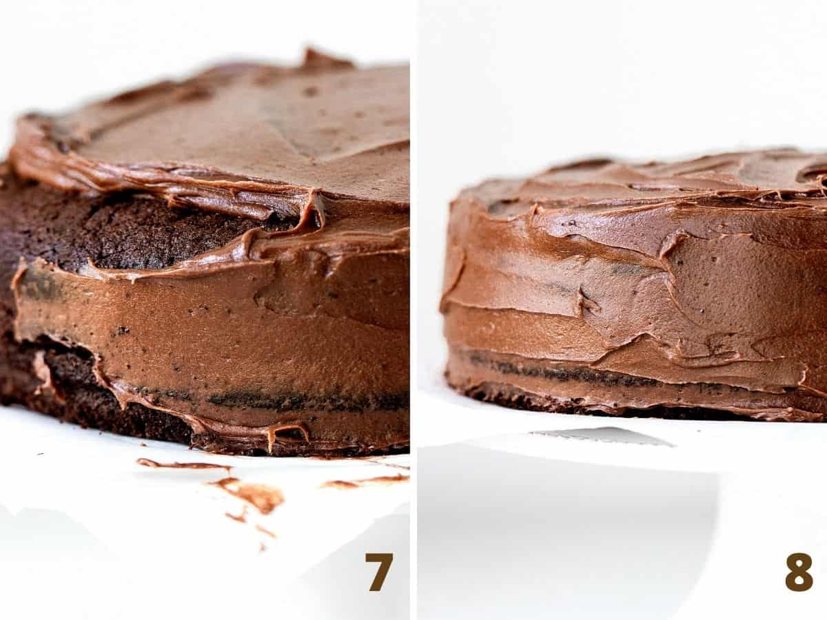 Frosting chocolate layer cake on white cake stand; two image collage