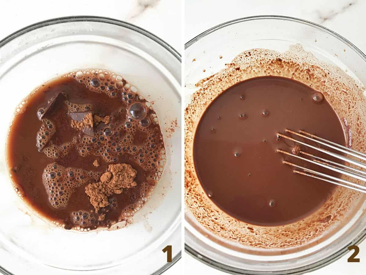 Two image collage mixing chocolate, cocoa and water in glass bowl