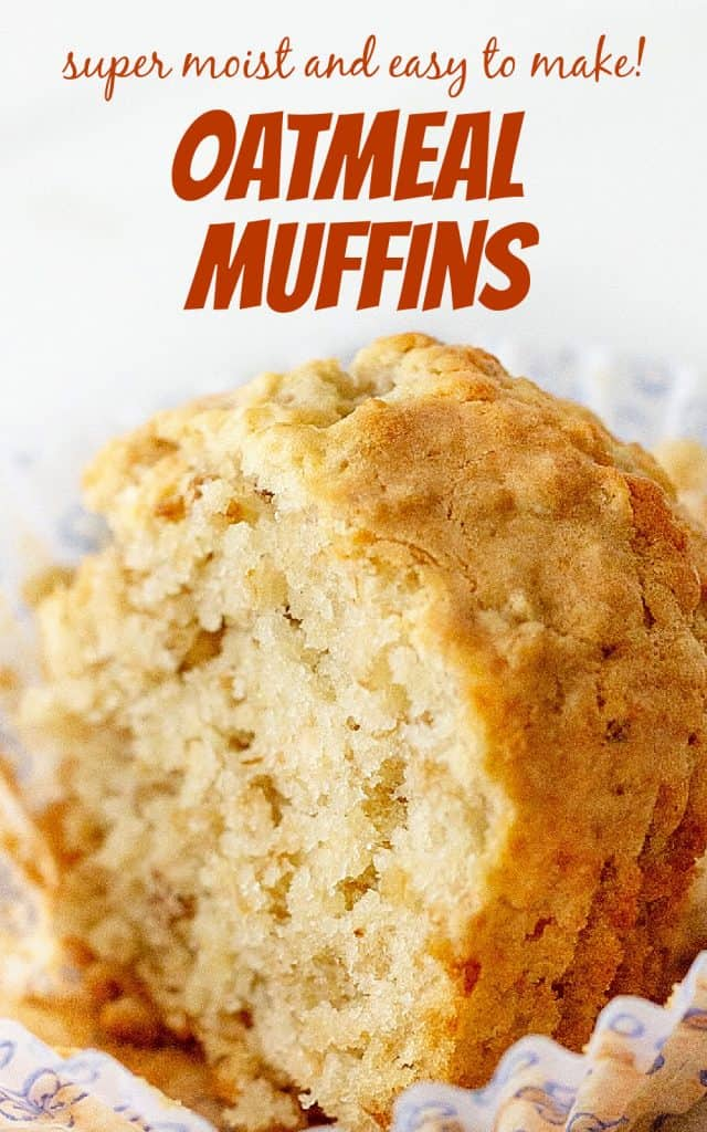 Very close-up view of half an oatmeal muffin, white background with orange text
