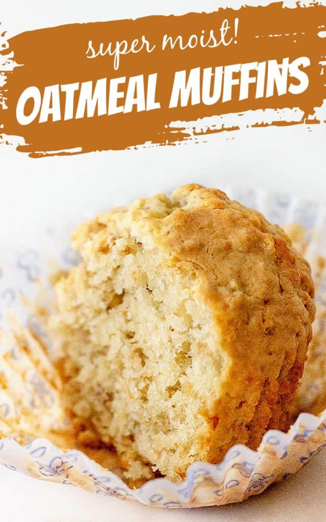 Half a golden-colored muffin in an open paper liner, white background, image with text overlay