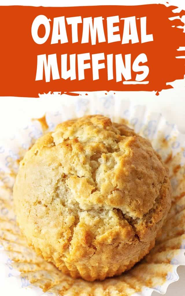 Top view of single golden muffin on an opened paper liner, orange and white text overlay