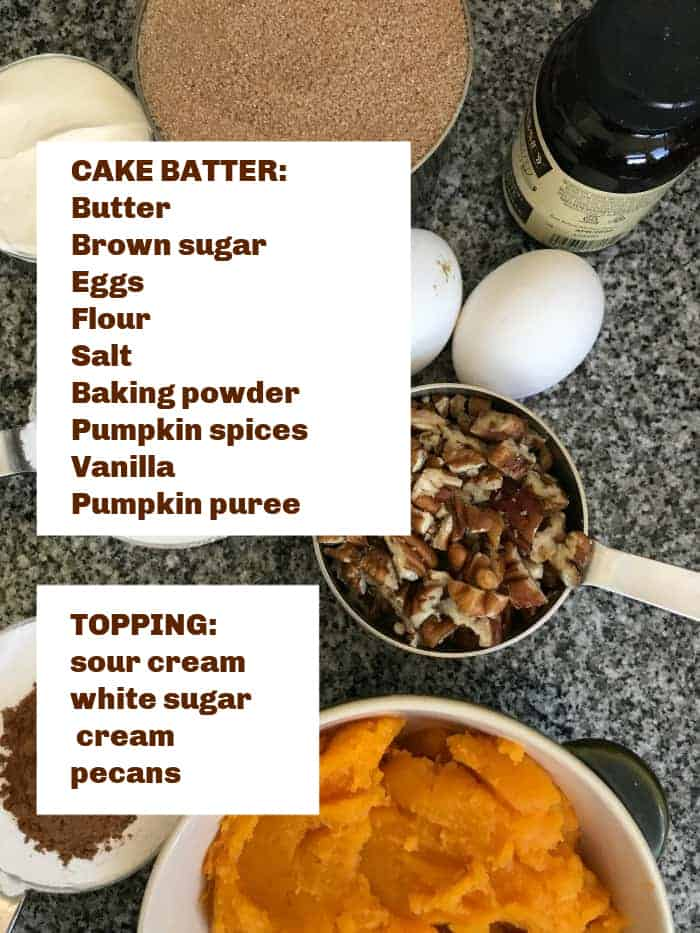 Pumpkin pecan cake ingredients on grey surface, brown text with white overlay