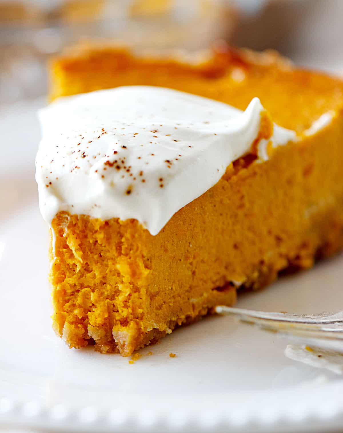 Close-up of eaten pumpkin pie slice, cream on top, tip of silver fork showing
