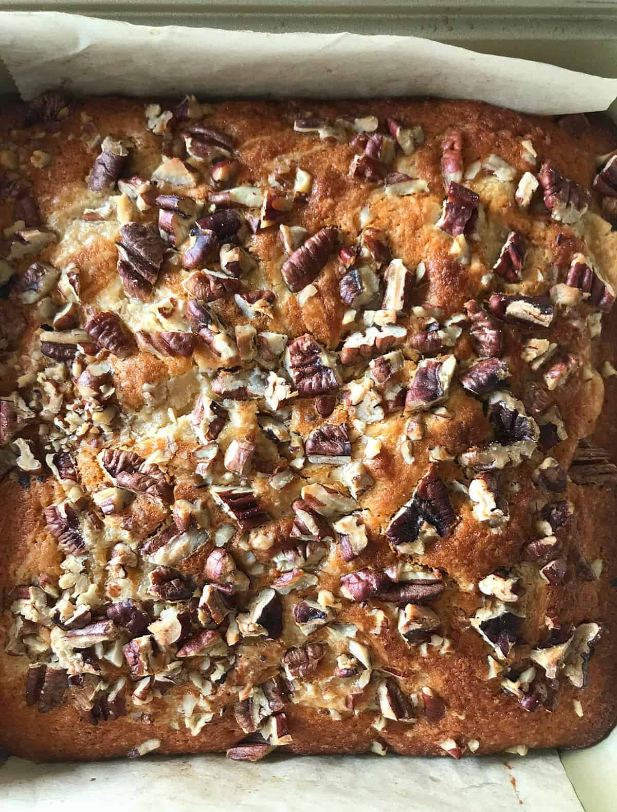 Baked cake with pecan on top, parchment paper