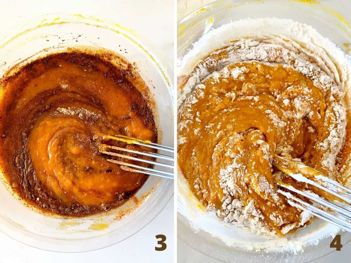 Pumpkin mixture with spices, and after adding flour, glass bowl and whisk; a collage