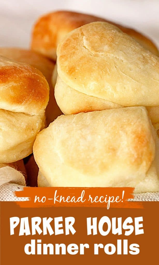 Golden dinner rolls with white, orange and brown text and overlay