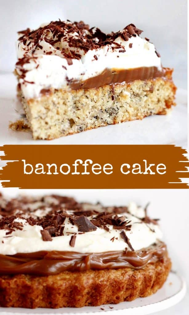 Two images of banoffee cake with brown white text