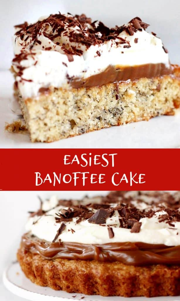 Partial and slice images of banoffee cake, red white text and overlay