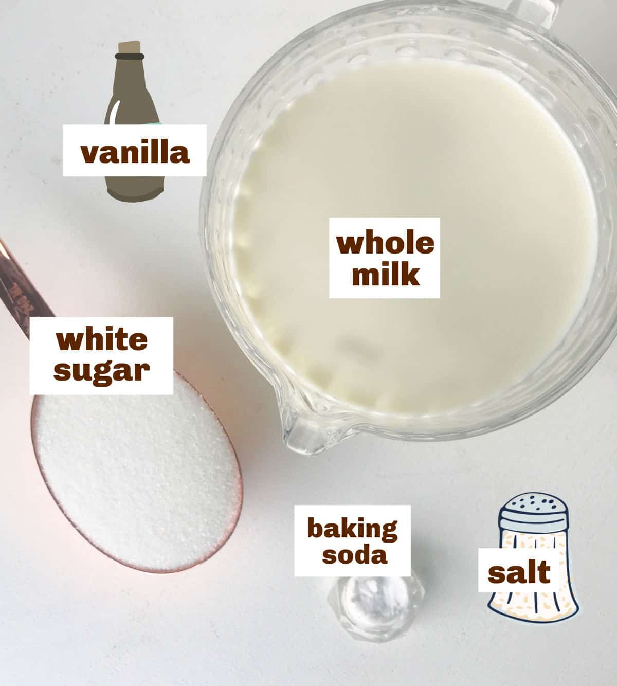 Ingredients for making dulce de leche including milk and sugar in different containers on white surface