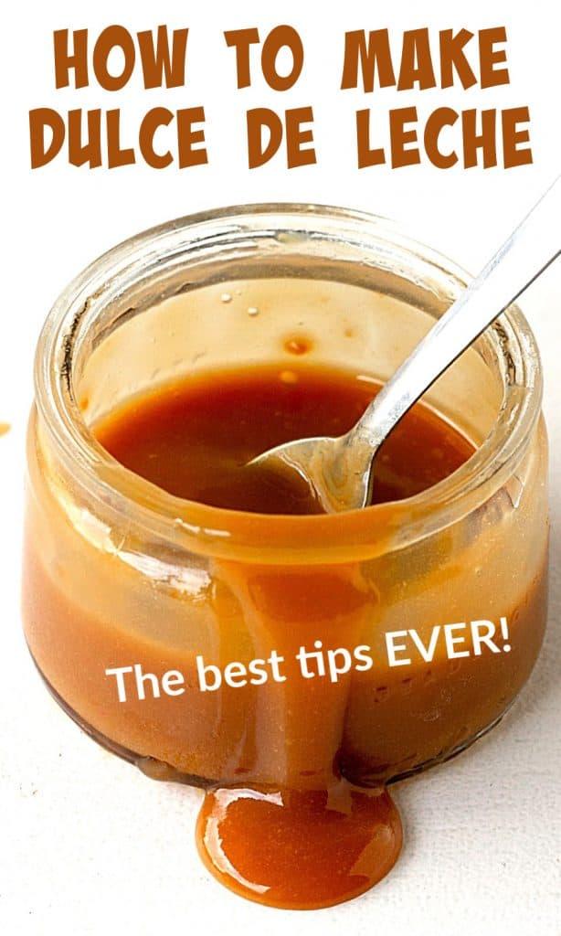 Jar dripping brown dulce de leche sauce, white background, brown text