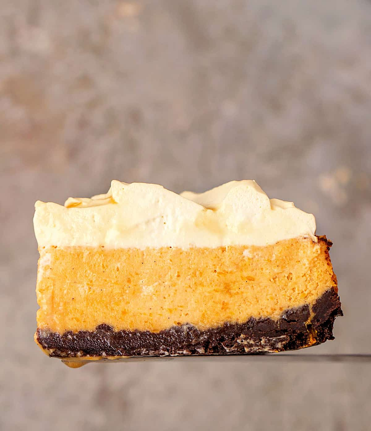 Single slice of pumpkin cream cheesecake on a brownish background