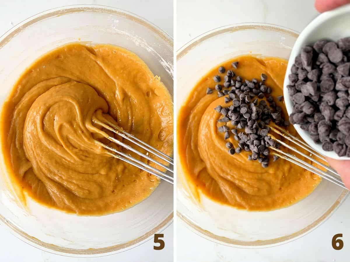 Collage with pumpkin batter in a transparent bowl and adding chocolate chips