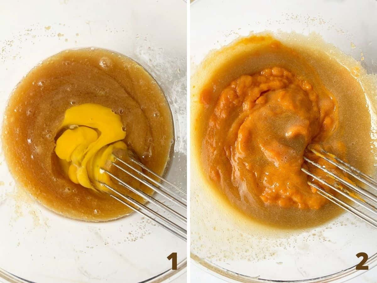 Adding eggs and mixing pumpkin muffin batter in glass bowl