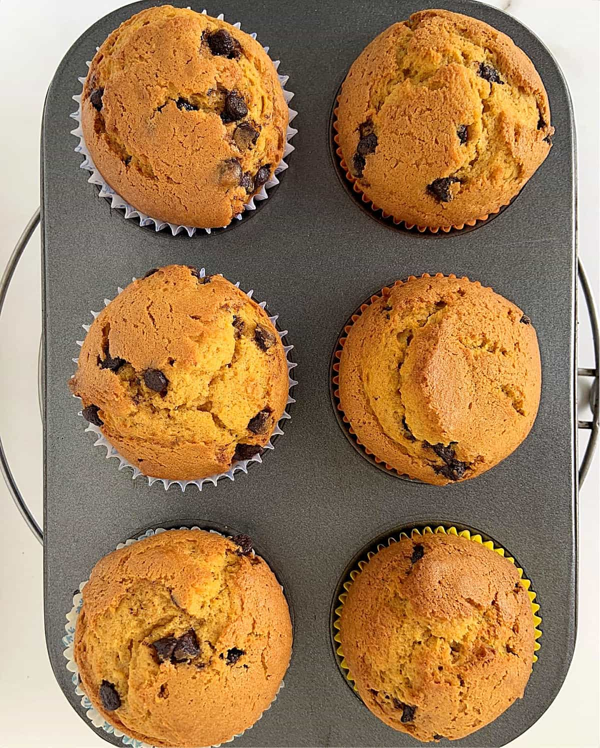 Baked pumpkin muffins with chips on a dark grey pan on a wire rack