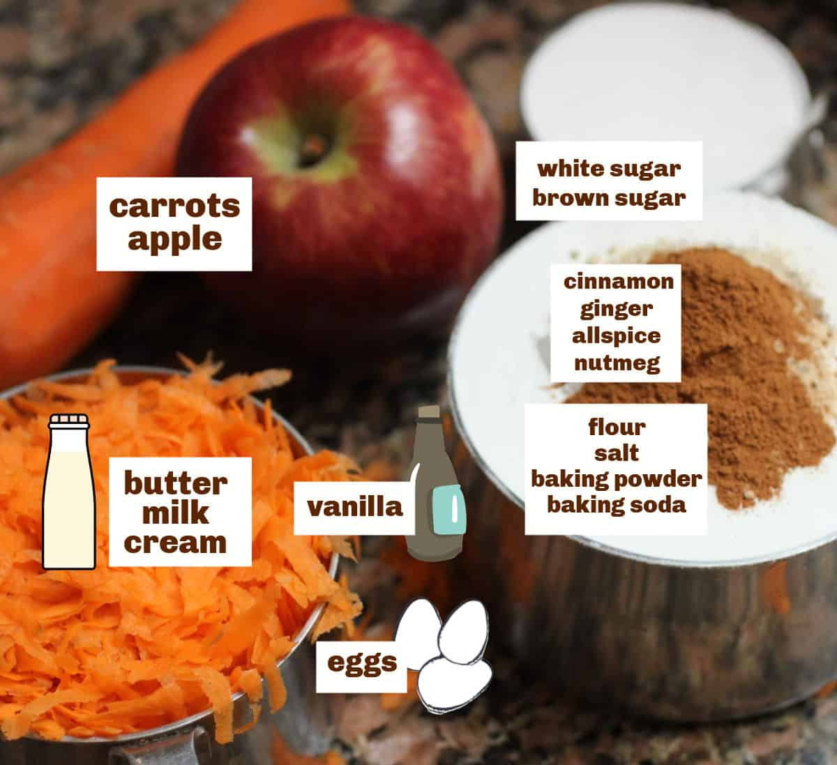 Carrot cake ingredients on dark marble, including grated carrot, apple, with white and brown text overlay