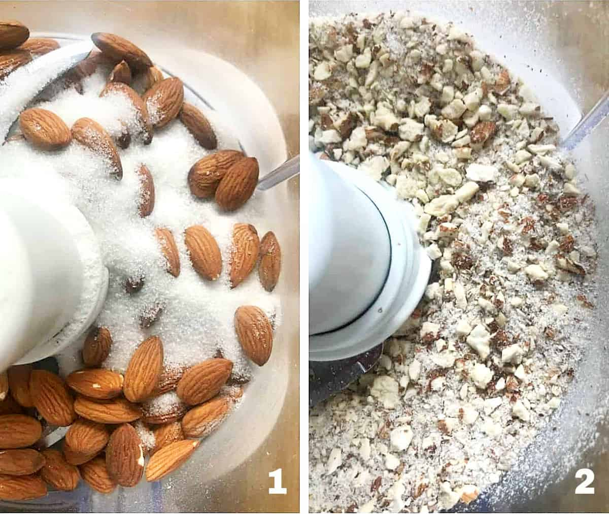 Two image collage of almonds and sugar in food processor, whole and processed
