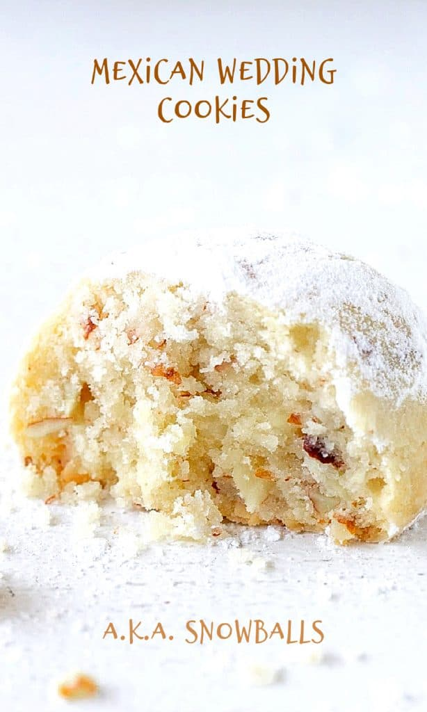 Close up of half snowball cookie, white surface, crumbs, powdered sugar and brown text