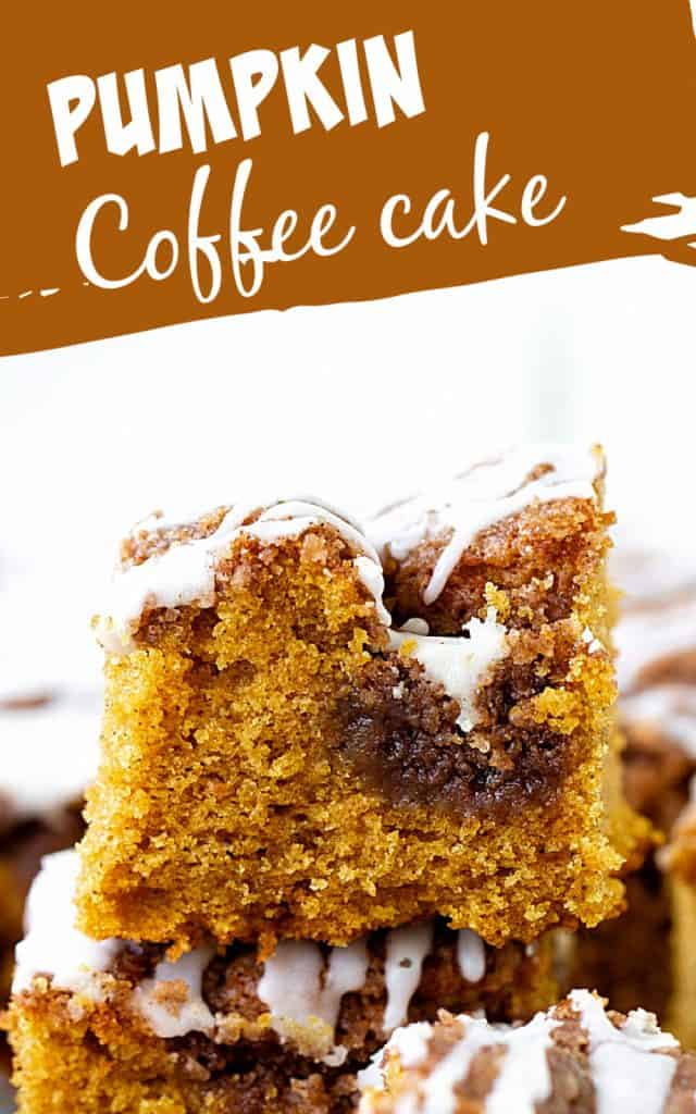 White and brown text on image with squares of iced pumpkin coffee cake