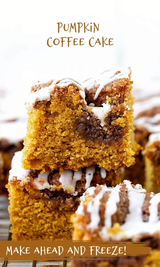Several stacked squares of pumpkin cake with glaze, brown text