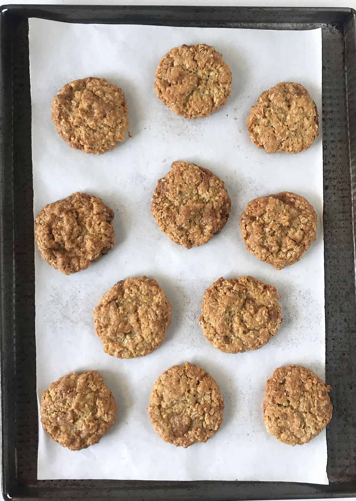 Baked oatmeal cookie on white parchment paper on metal sheet, top view