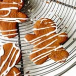 Iced Gingerbread men on wire rack