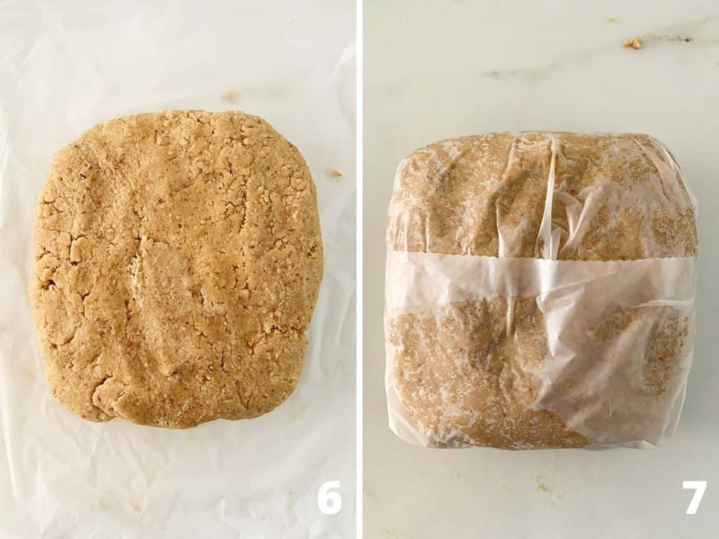 White surface with round of spice dough with and without plastic wrap