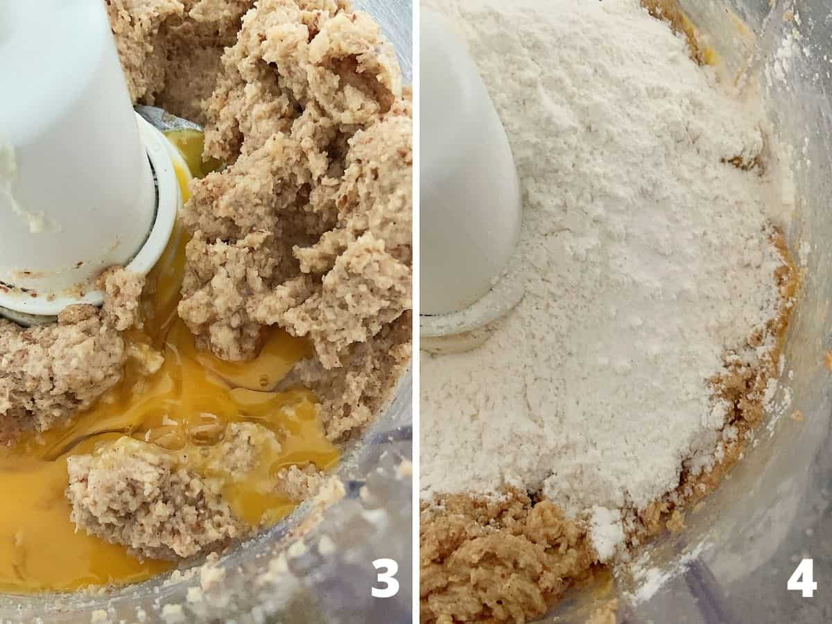 Top view of food processor bowl adding egg and flour to almond butter mixture