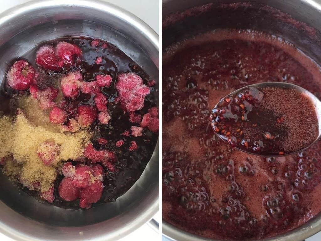 Two images of metal saucepan with raspberries and sugar, raw and baked