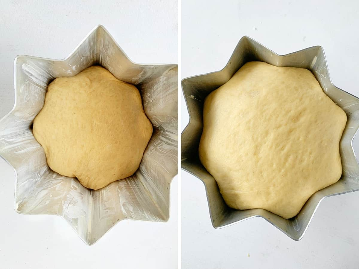 Two image collage of star shaped pandoro pan with dough in stages of proofing