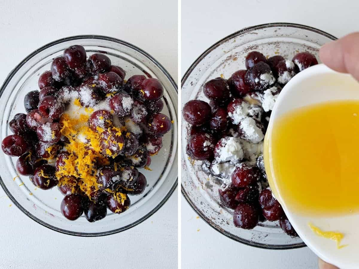 Collage of glass bowls with cherries, sugar, orange zest and juice