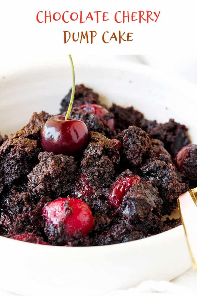 Close up of chocolate dump cake with cherries in a white bowl, a spoon, white surface