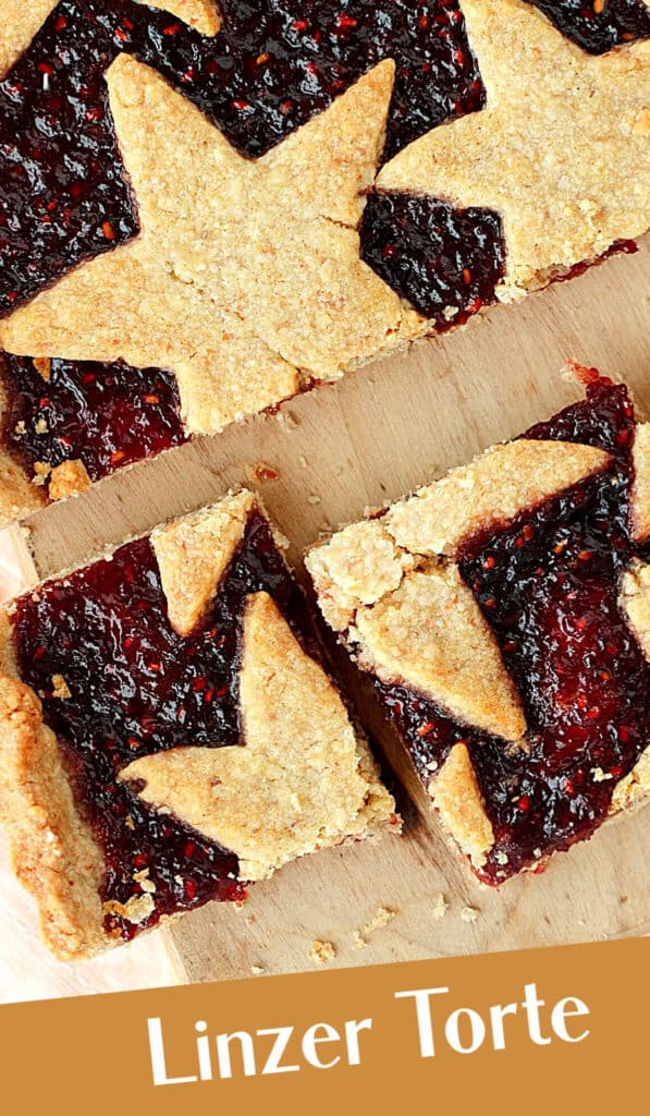 Overview of star topped linzer torte; white and brown text