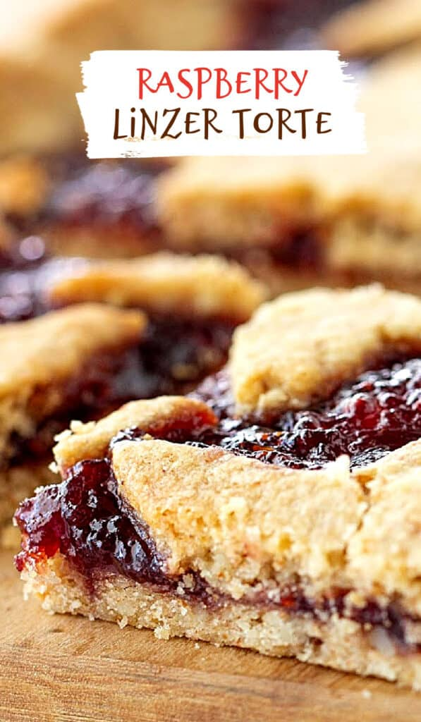 Wooden board with squares of raspberry linzer torte; brown red text