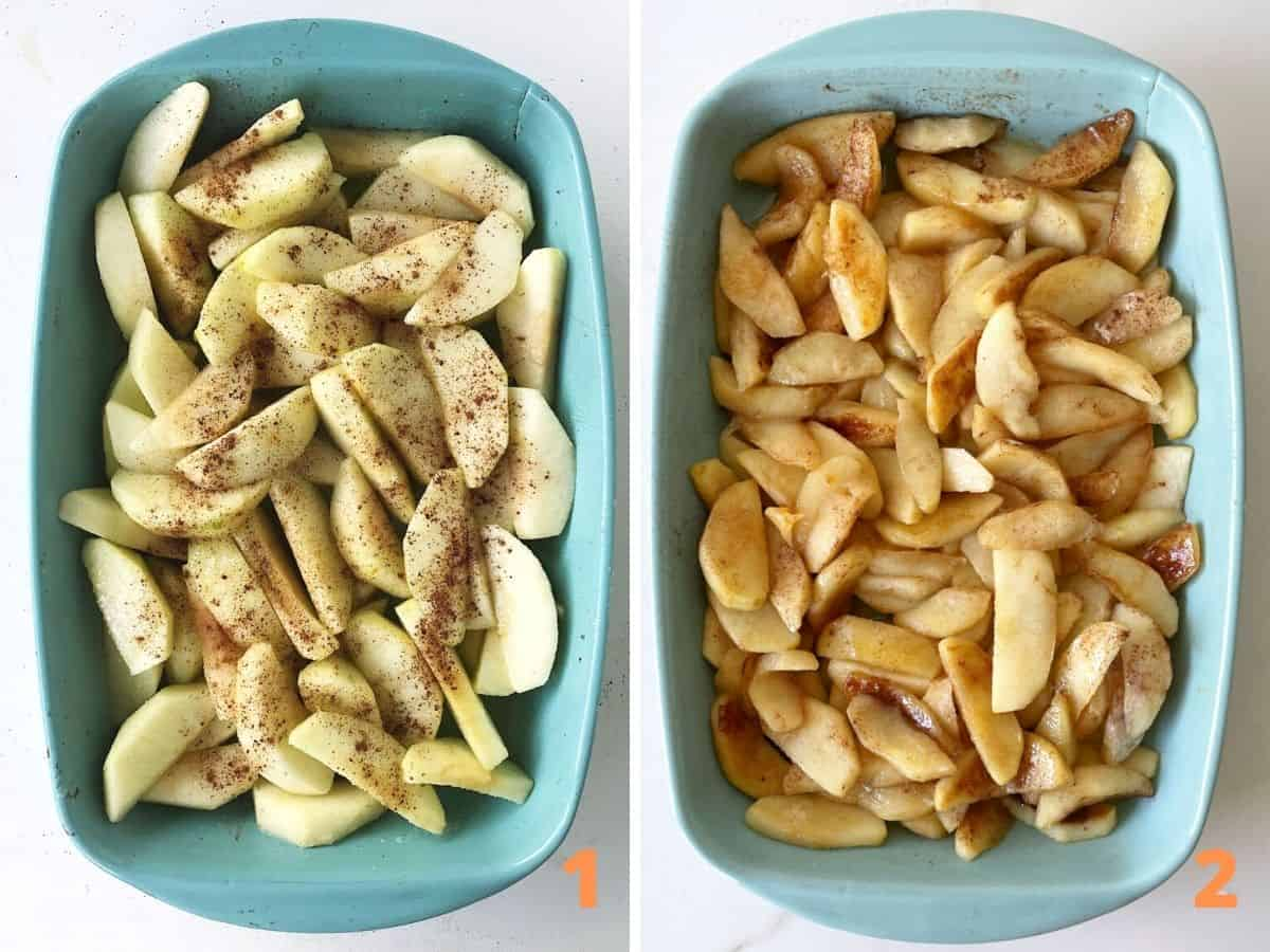 Collage showing blue ceramic dish with cinnamon apple slices, raw and cooked
