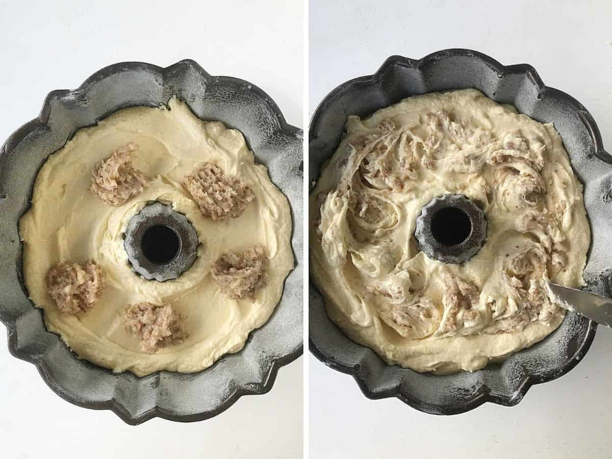 Collage of bundt pans with cake batter and almond cream mounds; and swirled mixture