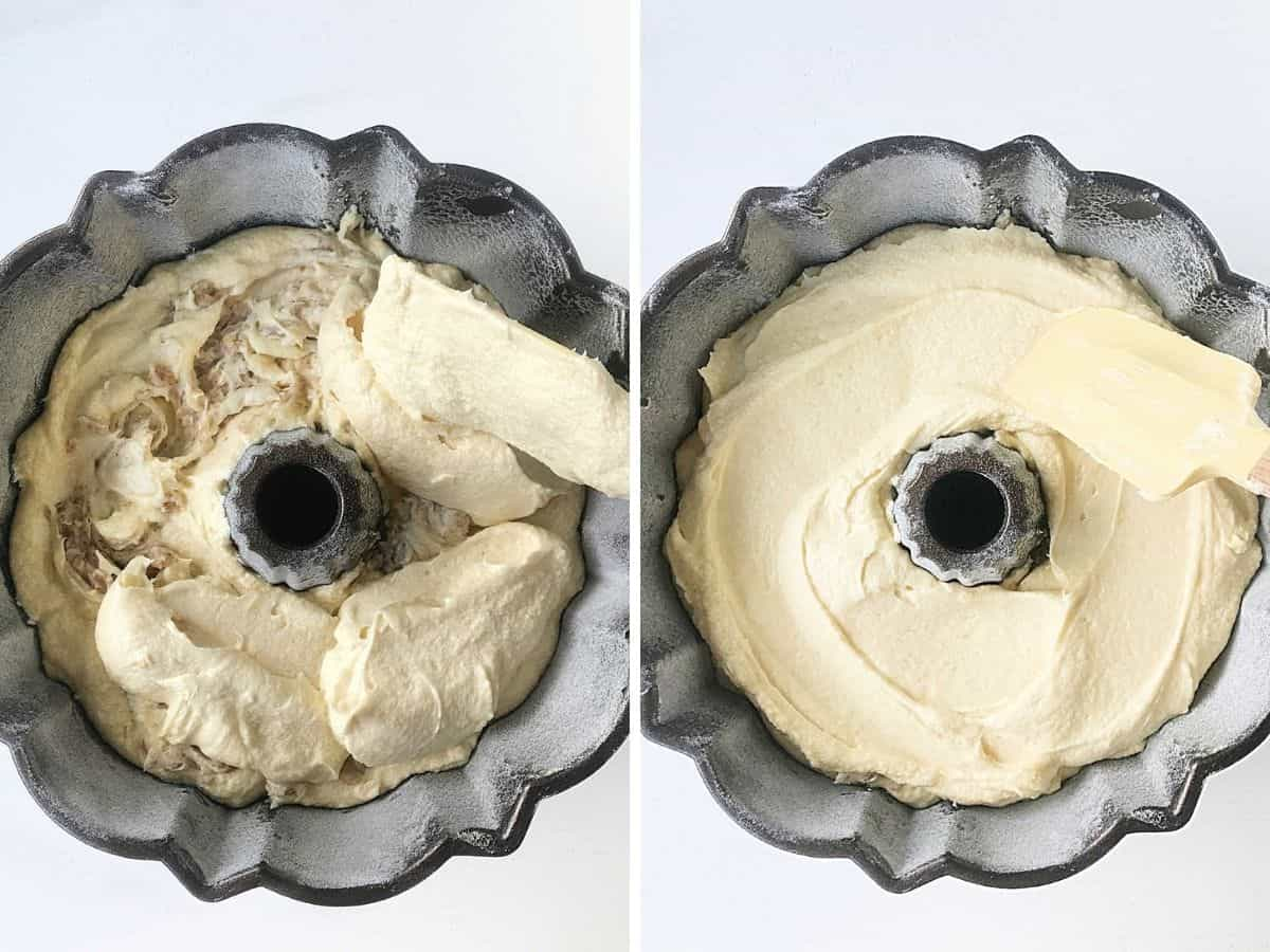 Two image collage of bundt pand with cake batter, adding and smoothing it on a white surface