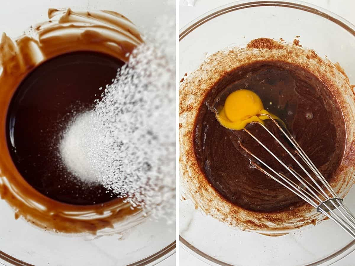 Collage adding sugar to chocolate mixture in glass bowl, and then egg
