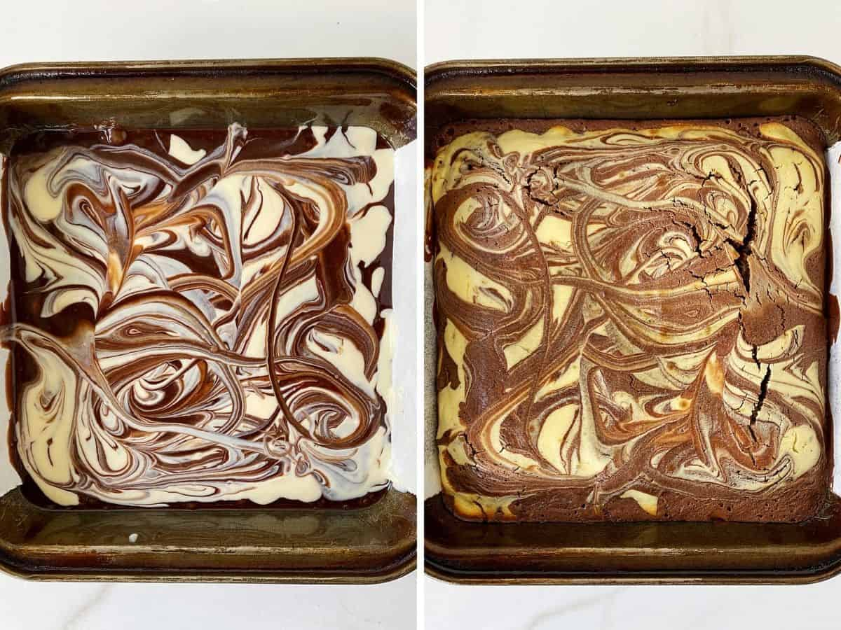 Metal pans with unbaked and baked cheesecake swirl brownie batter