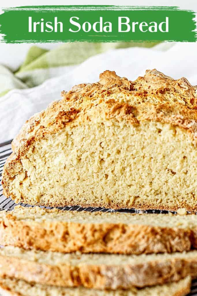 Half rustic soda bread and slices with green and white background and text overlay
