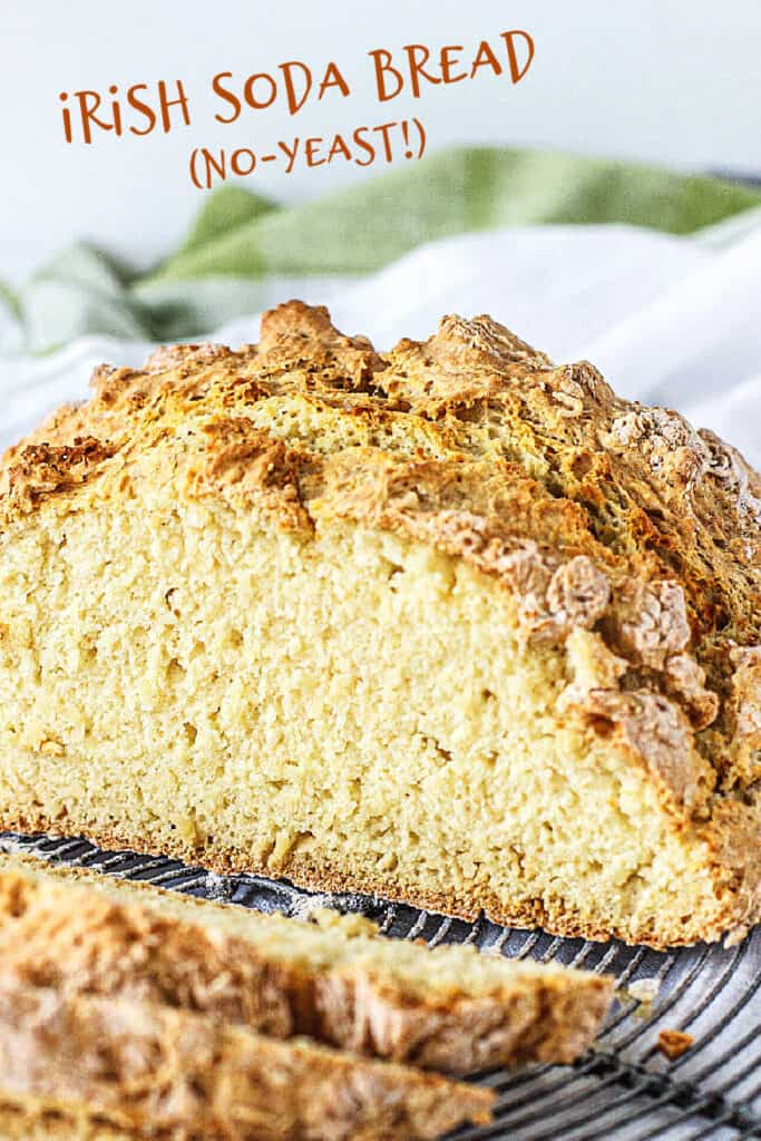 Sliced and half soda bread with white and green background and text overlay