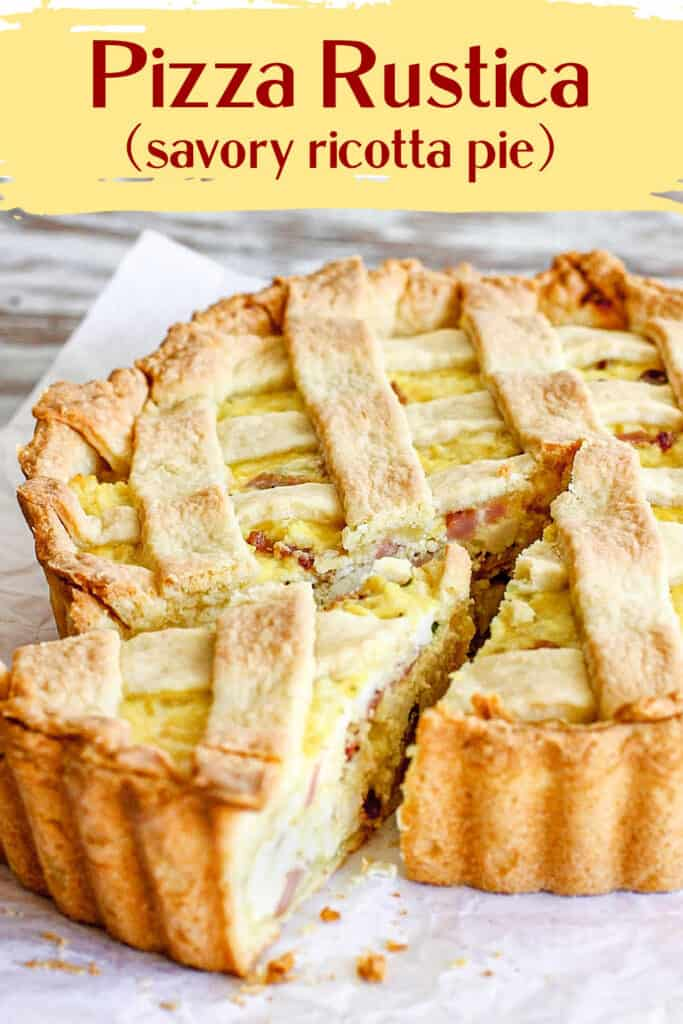Whole lattice ricotta pie with one cut slice on white paper; yellow brown text overlay
