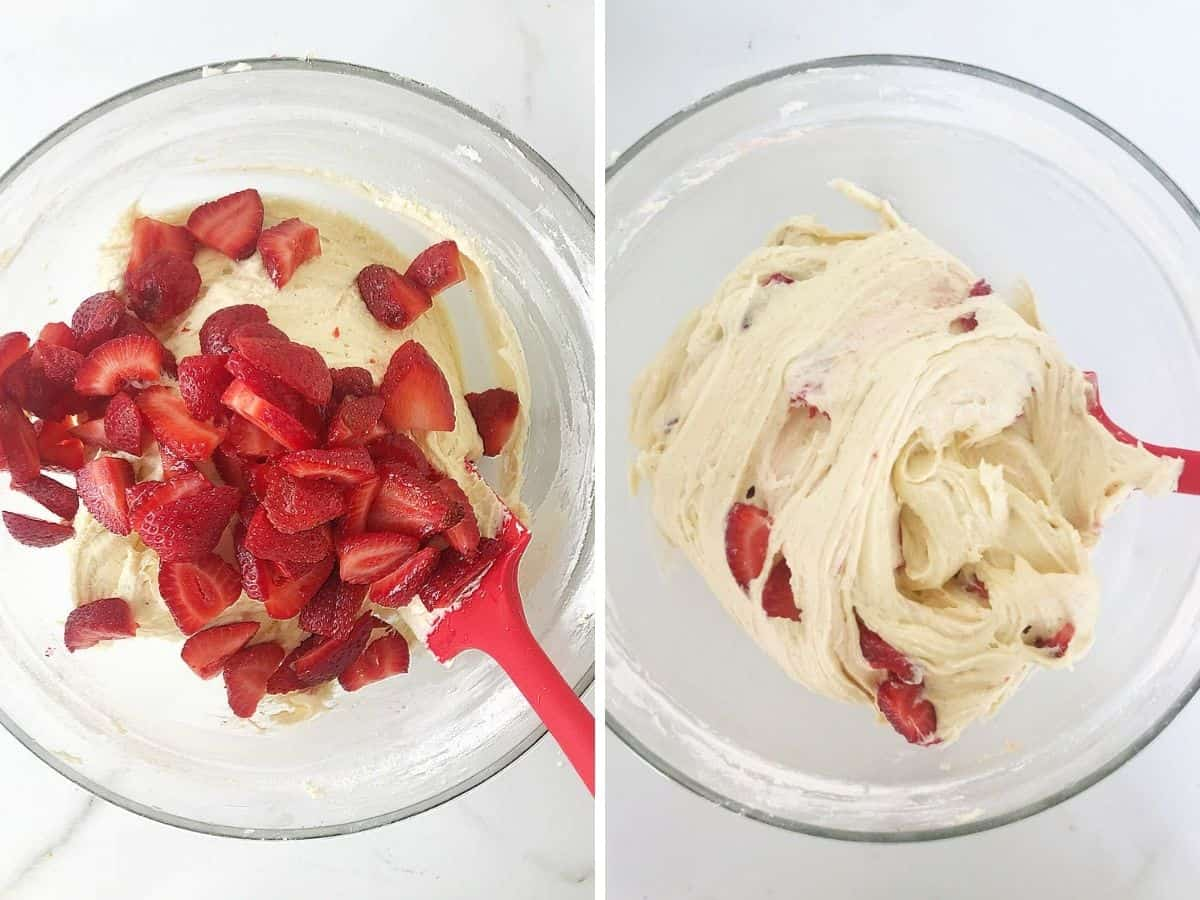Mixing fresh chopped strawberries into cake batter, red spatula, two image collage