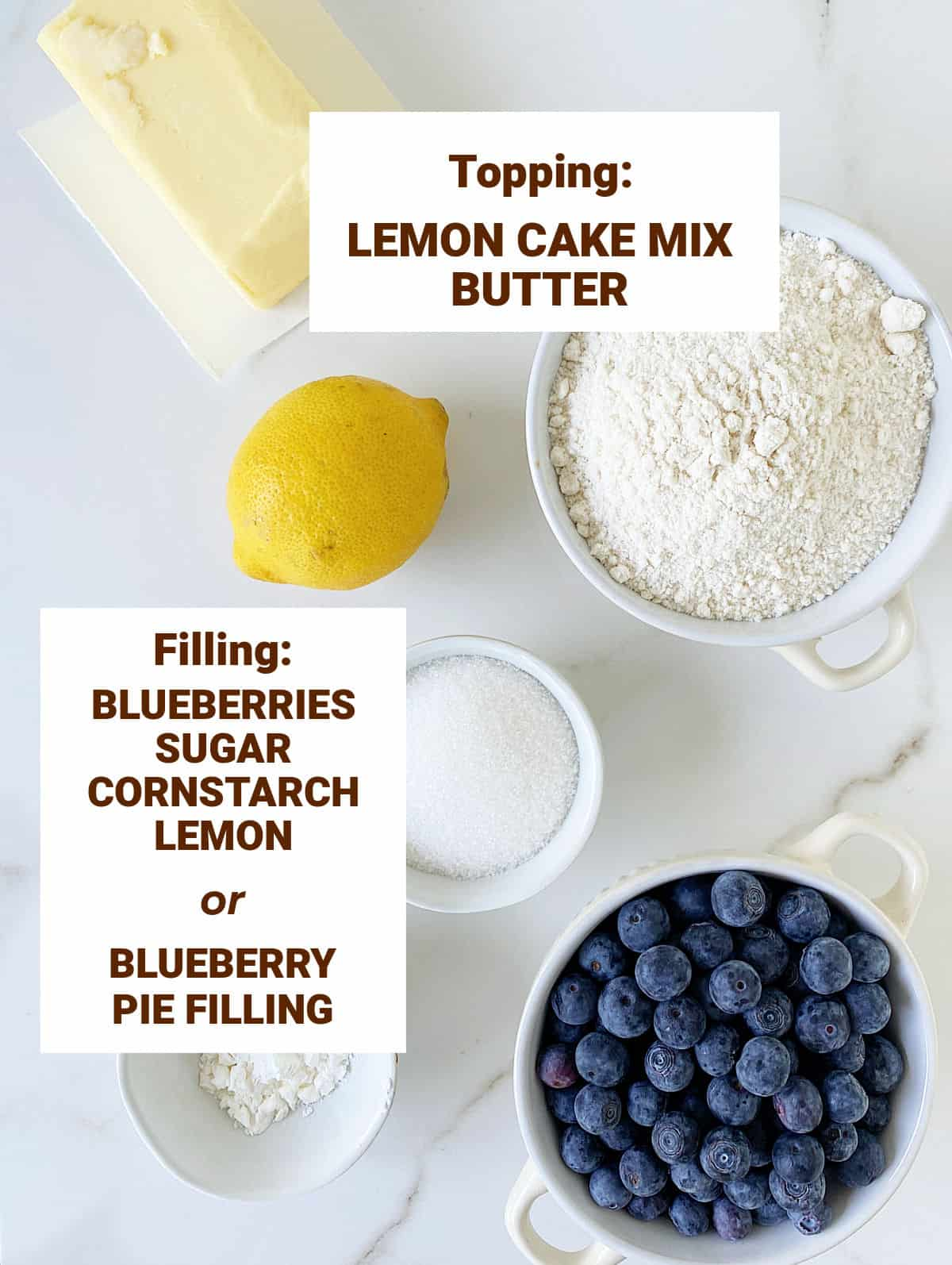 Ingredients for blueberry dump cake in bowl on white surface; text overlay