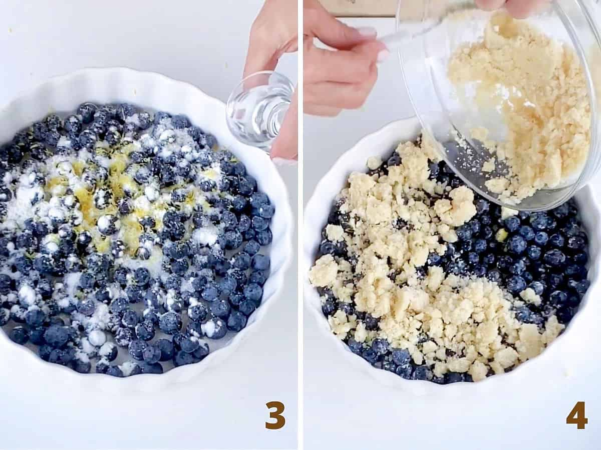 White dish filled with blueberries and flavorings and adding crumble topping; a collage