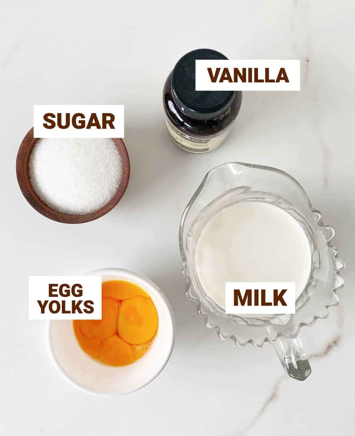 Bowls with ingredients for creme anglaise on white surfacce including egg yolks, sugar, milk, and vanilla