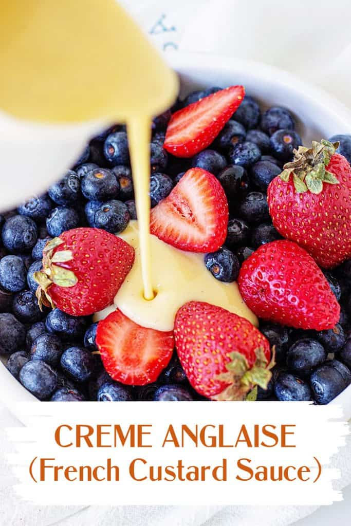 Custard being poured onto berries; red text overlay